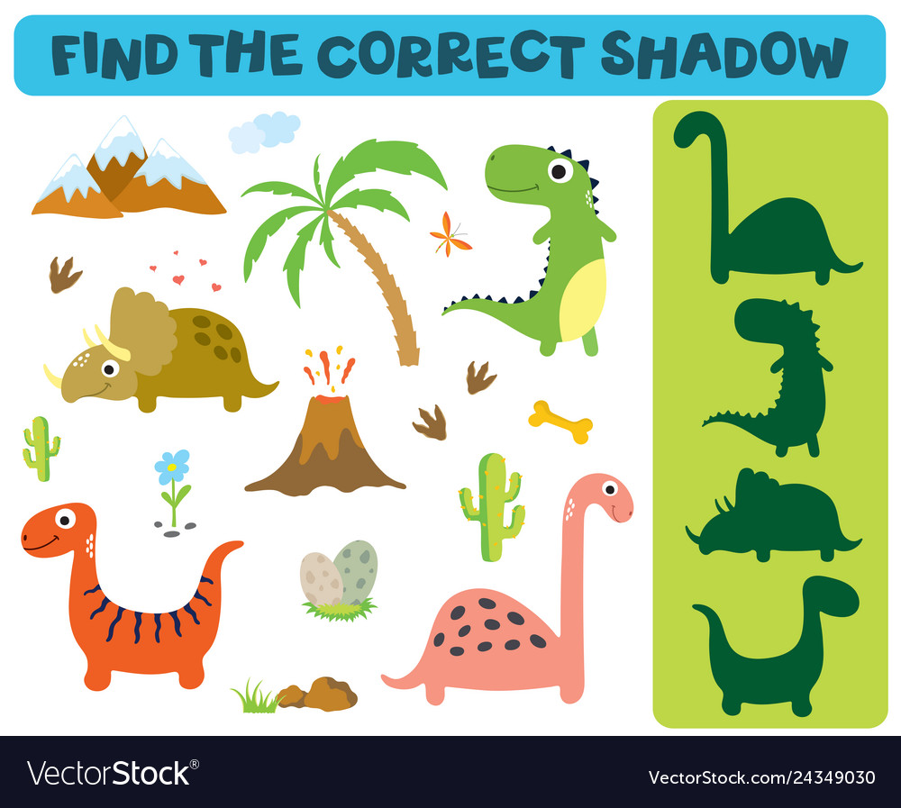 Find the correct shadow adorable dinosaurs
