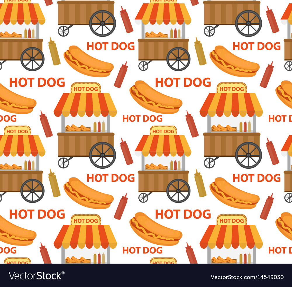 Hot dog seamless pattern endless texture fast