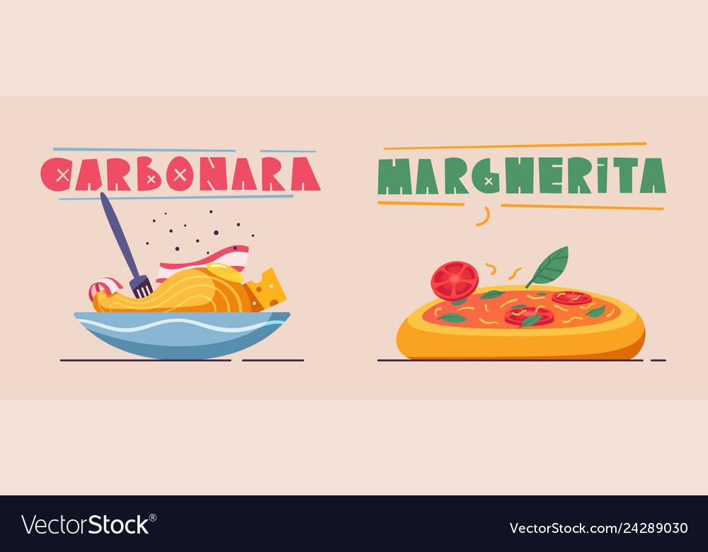 Italian food delicious pasta cartoon