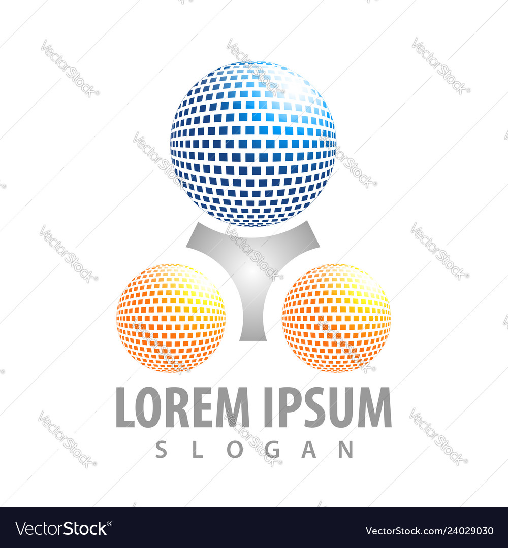Logo concept design digital sphere with triangle vector