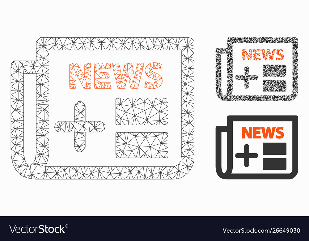Medical newspaper mesh carcass model and vector image