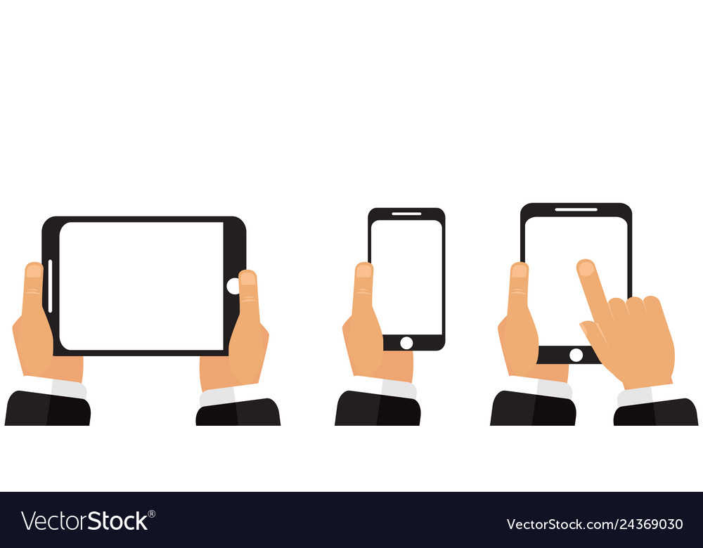 Phone tablet in his hands