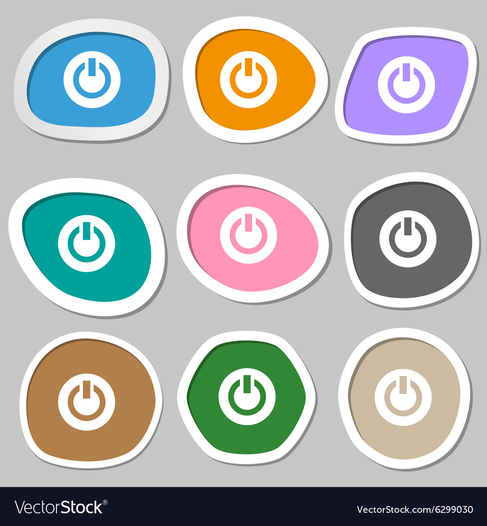 Power Switch on Turn on icon symbols Multicolored Vector Image