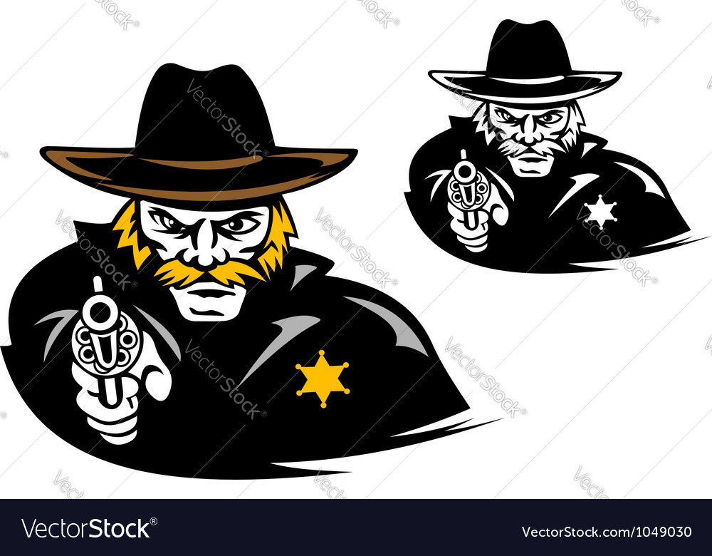 Sheriff with gun in cartoon mascot style