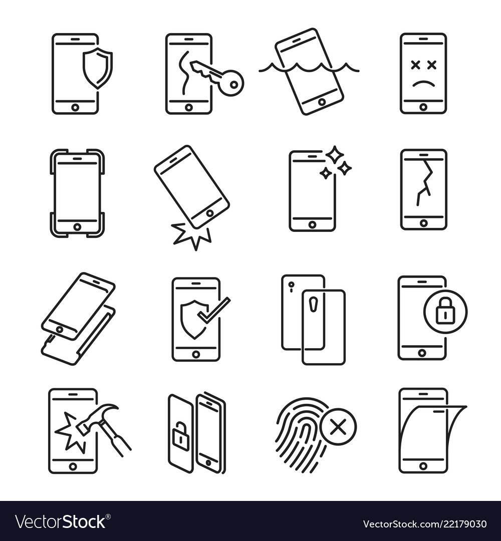 Smartphone protection icon set on white background