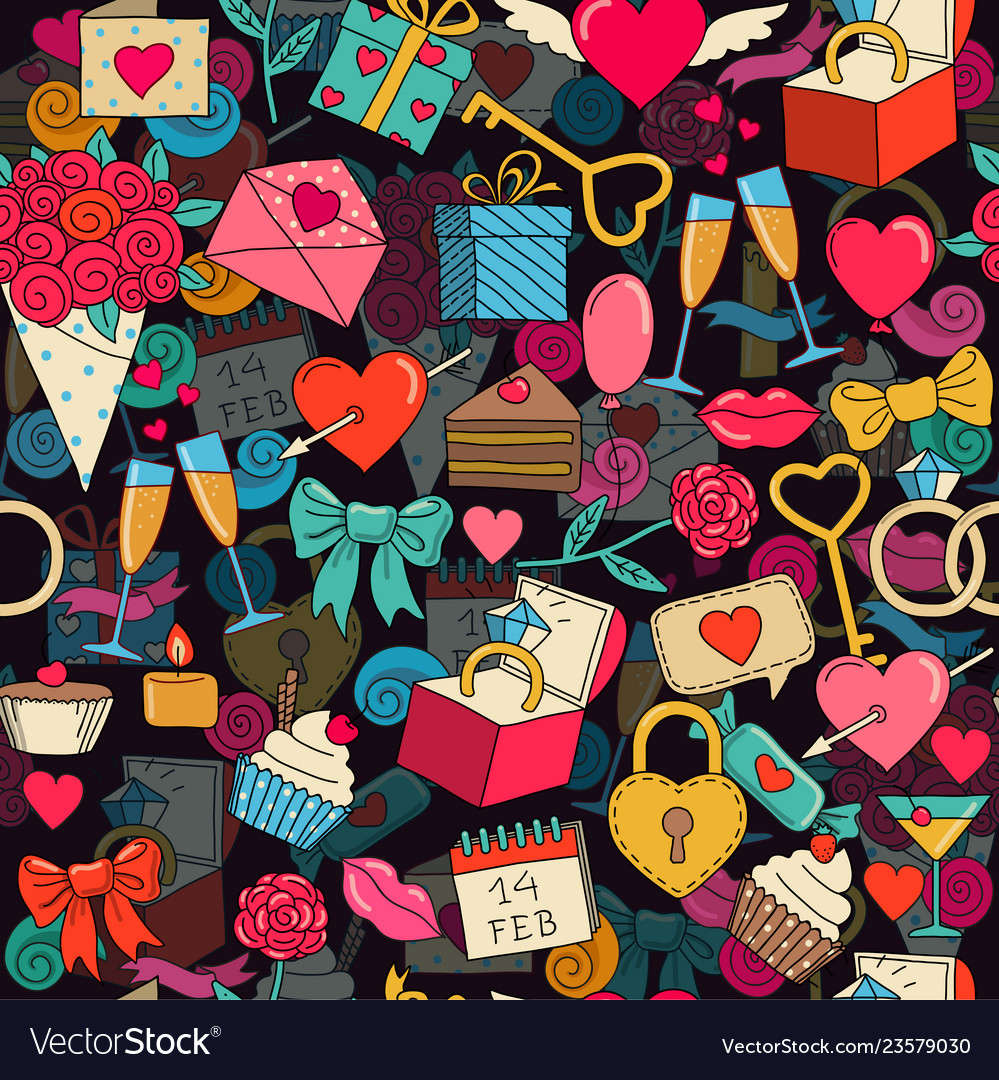 Valentines day seamless background with sketches