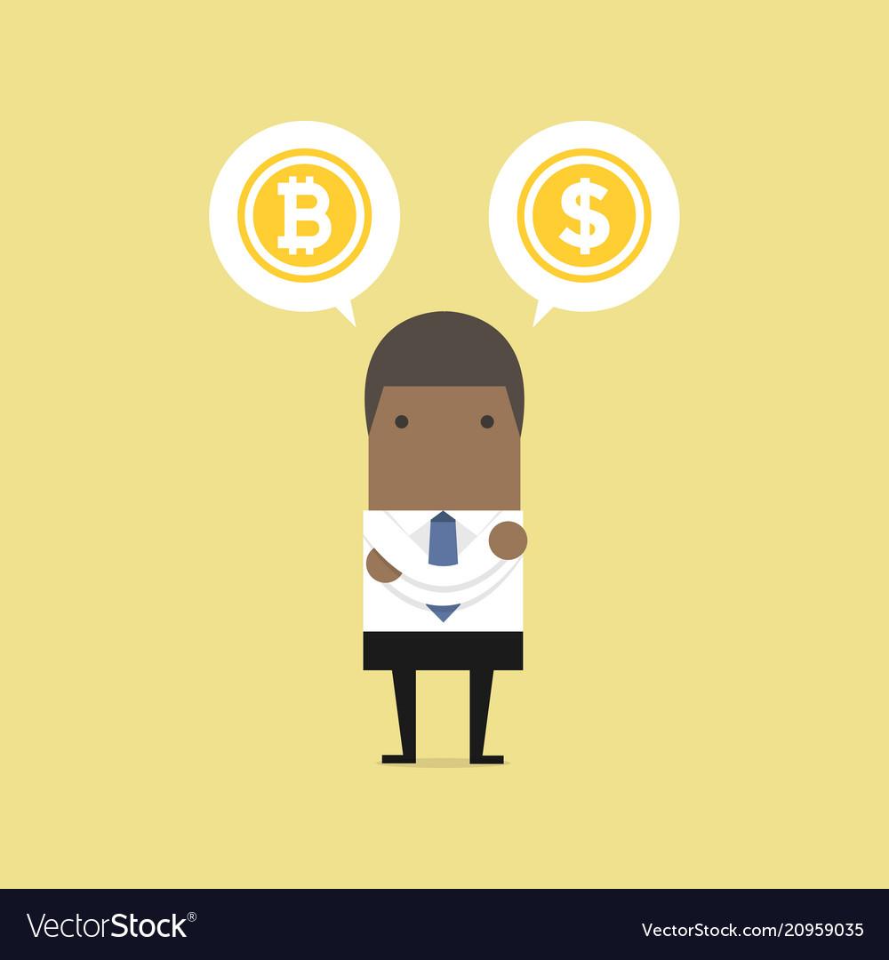 African businessman with bitcoin or dollar choice