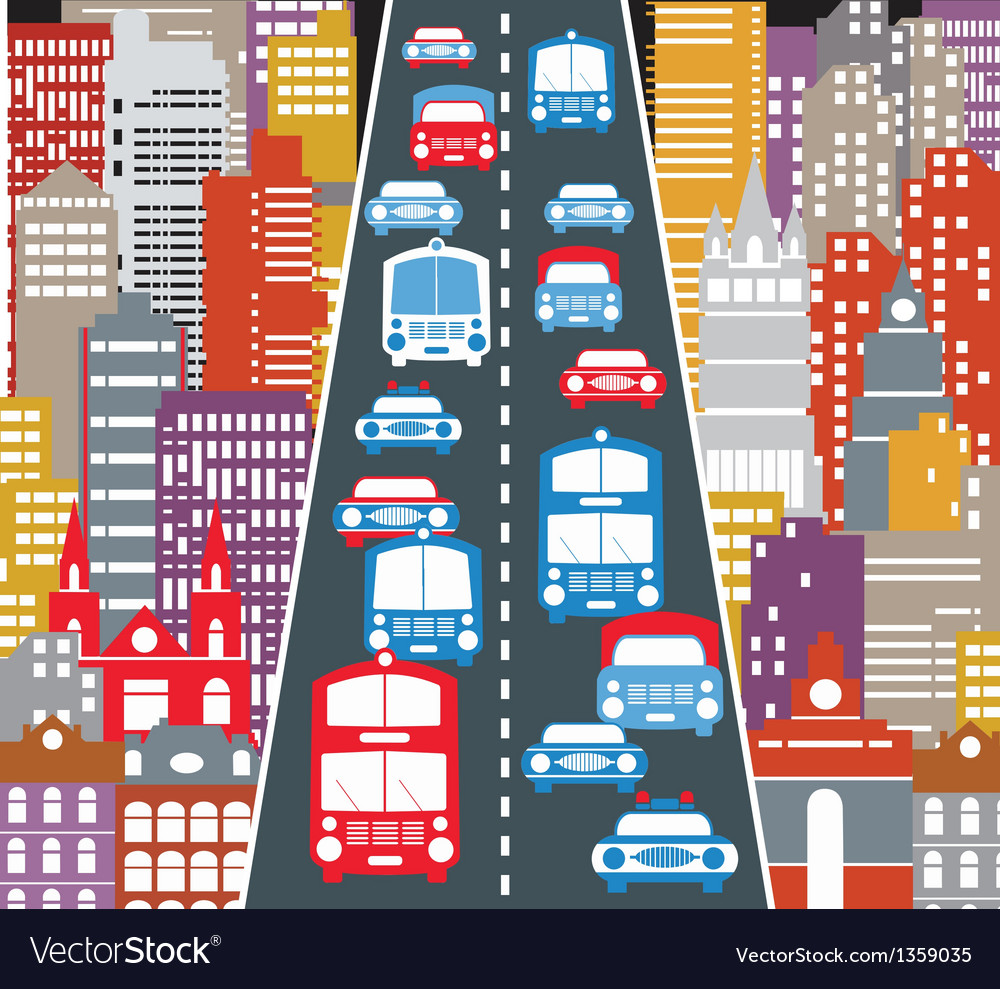 Automobile traffic vector image