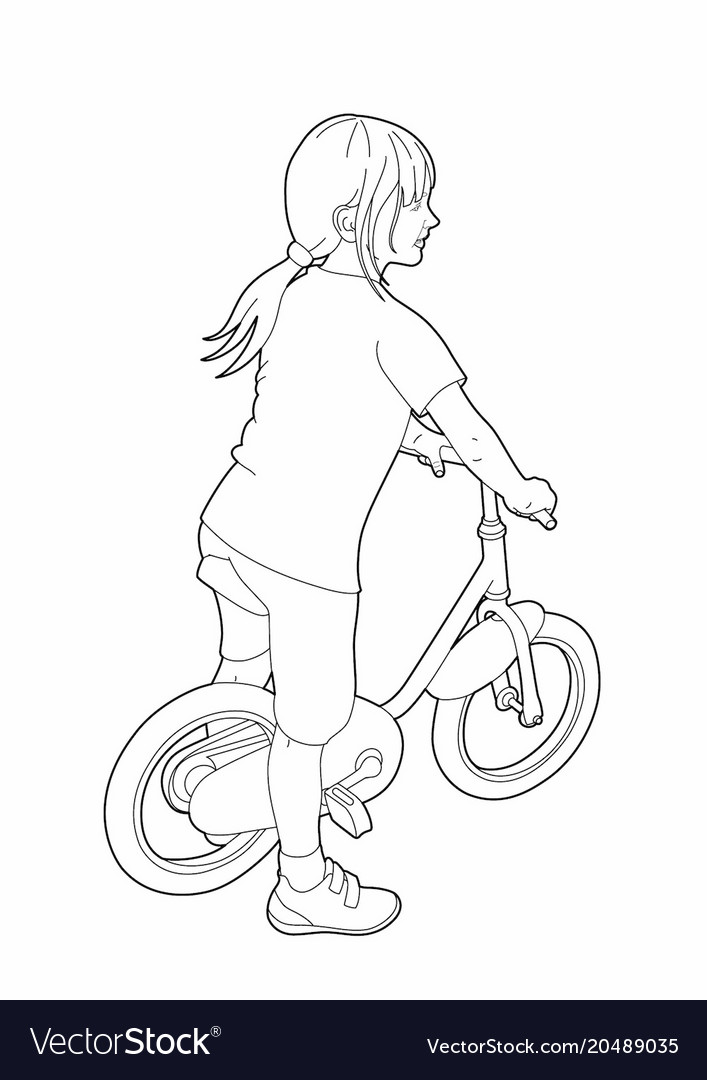 Drawing Of A Little Girl On A Bicycle Royalty Free Vector