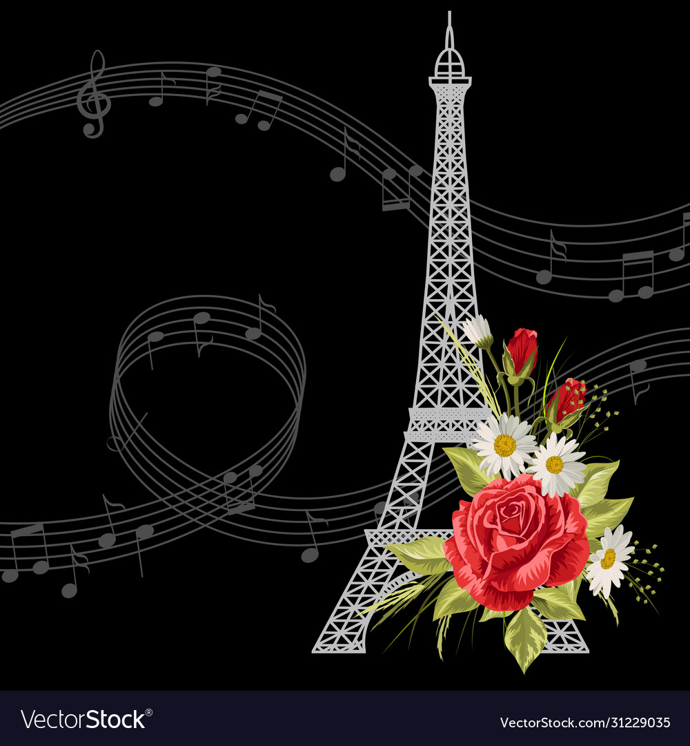 Eiffel tower with flowers and music notes on black