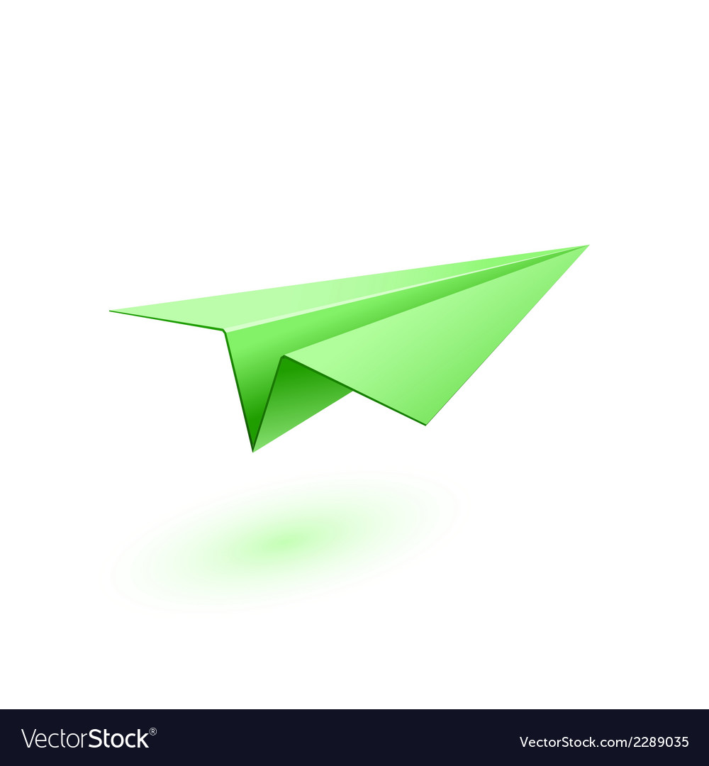 Green paper airplane