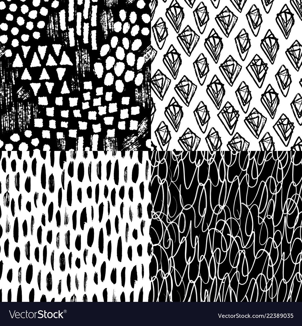 Ink hand drawn brush strokes seamless pattern