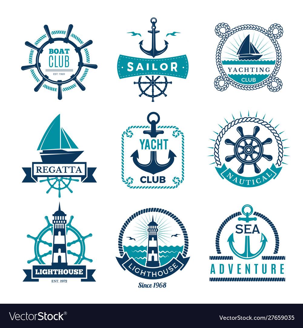 Marine labels nautical logo sailing boats rope