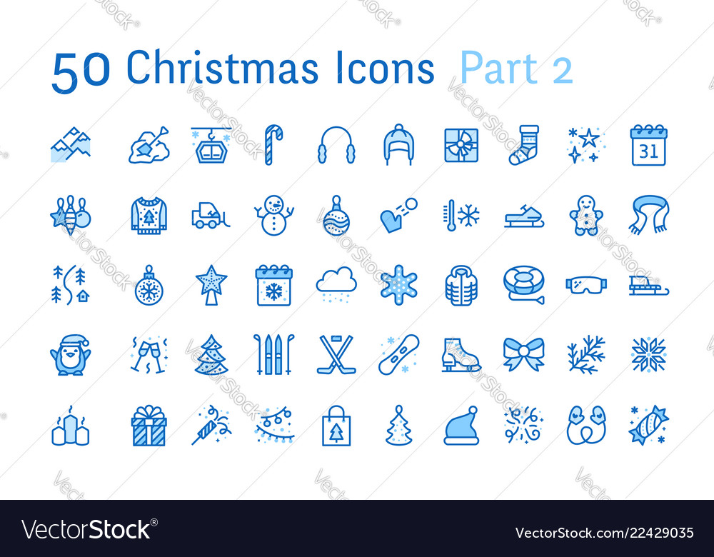 Merry christmas new year flat line icons gifts