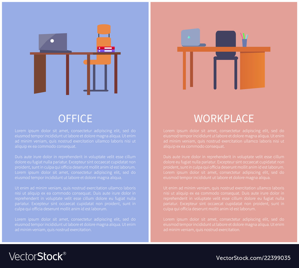 Office workplace design table computer and chair