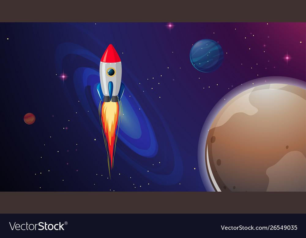 Rocket ship in space