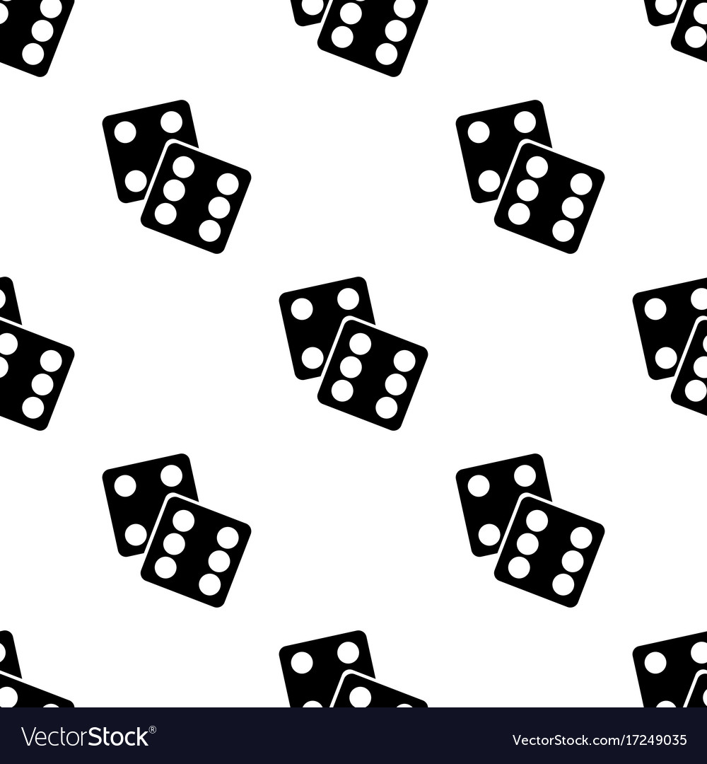 Seamless pattern with lucky dices black silhouette