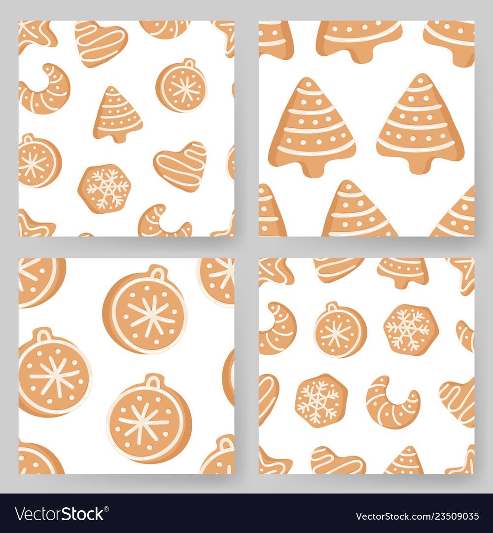 Set of cartoon ginger bread cookies hand drawn