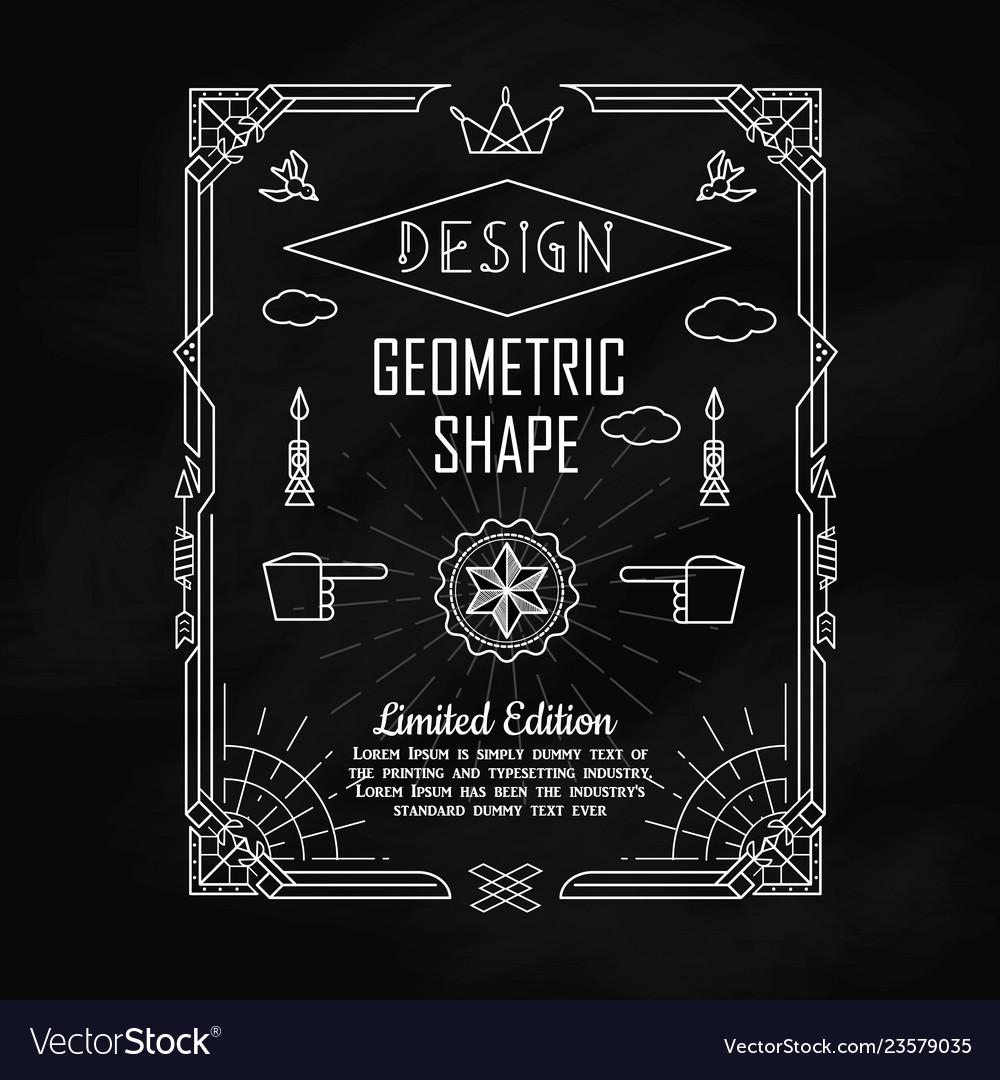 Set of vintage geometric shape border elements