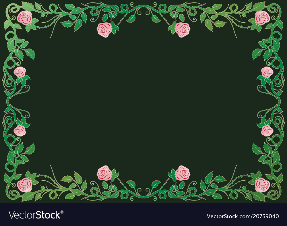 Antique renaissance frame with pink roses