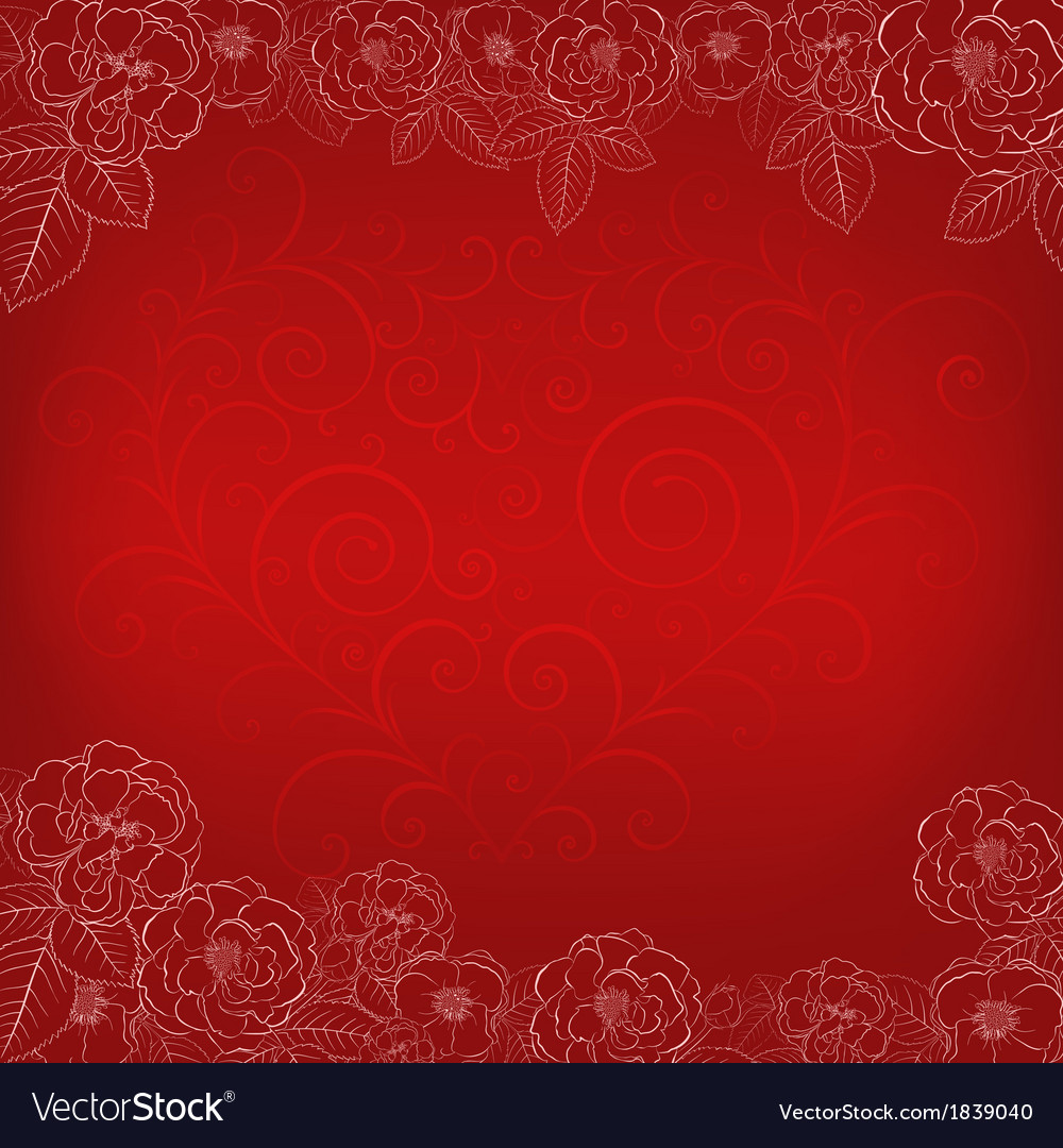 Background with roses and heart