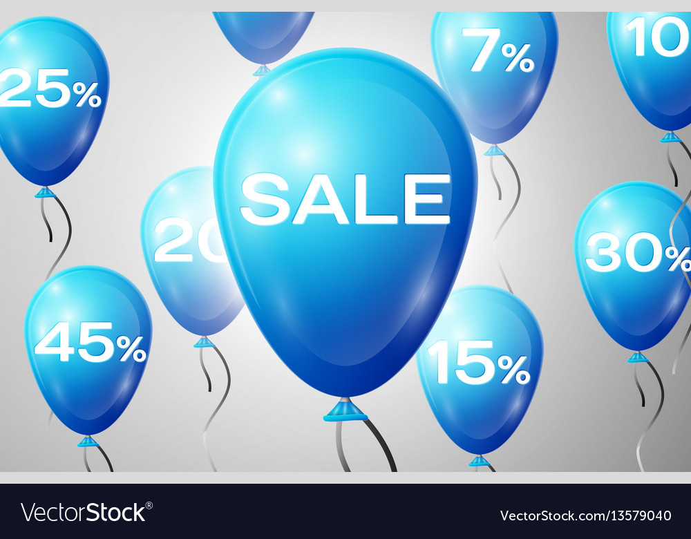 Blue balloons with an inscription sale sale