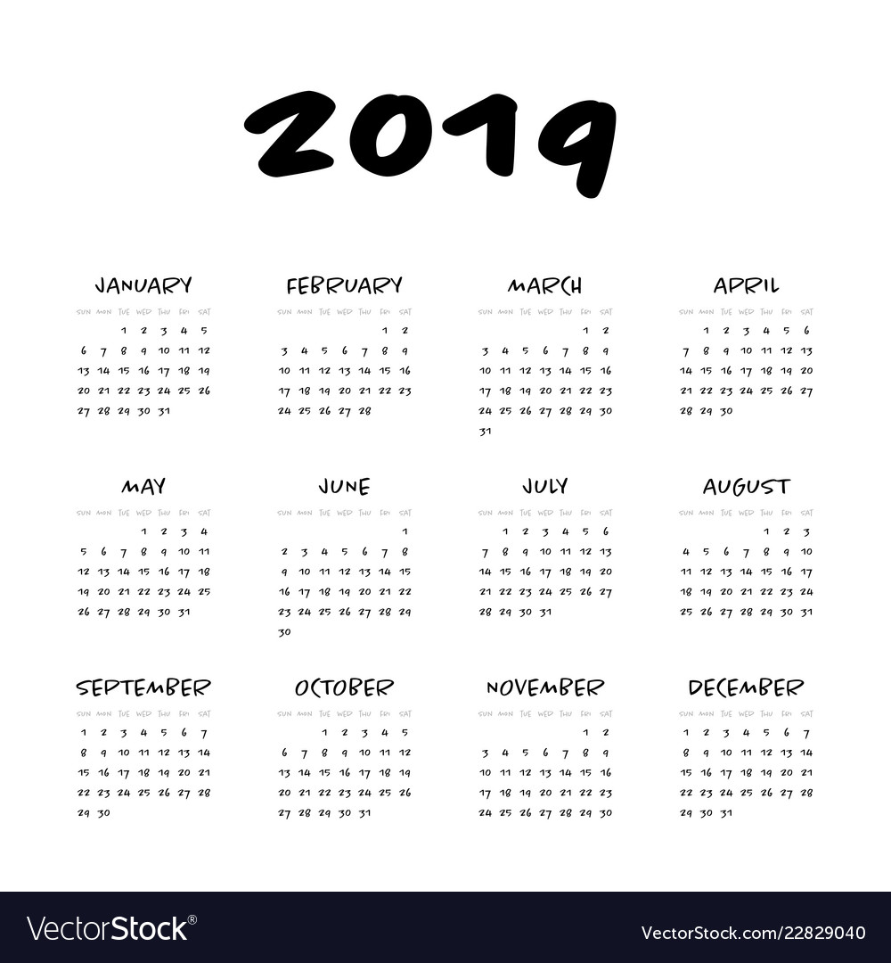 calendar year 2019 week starts from vector image