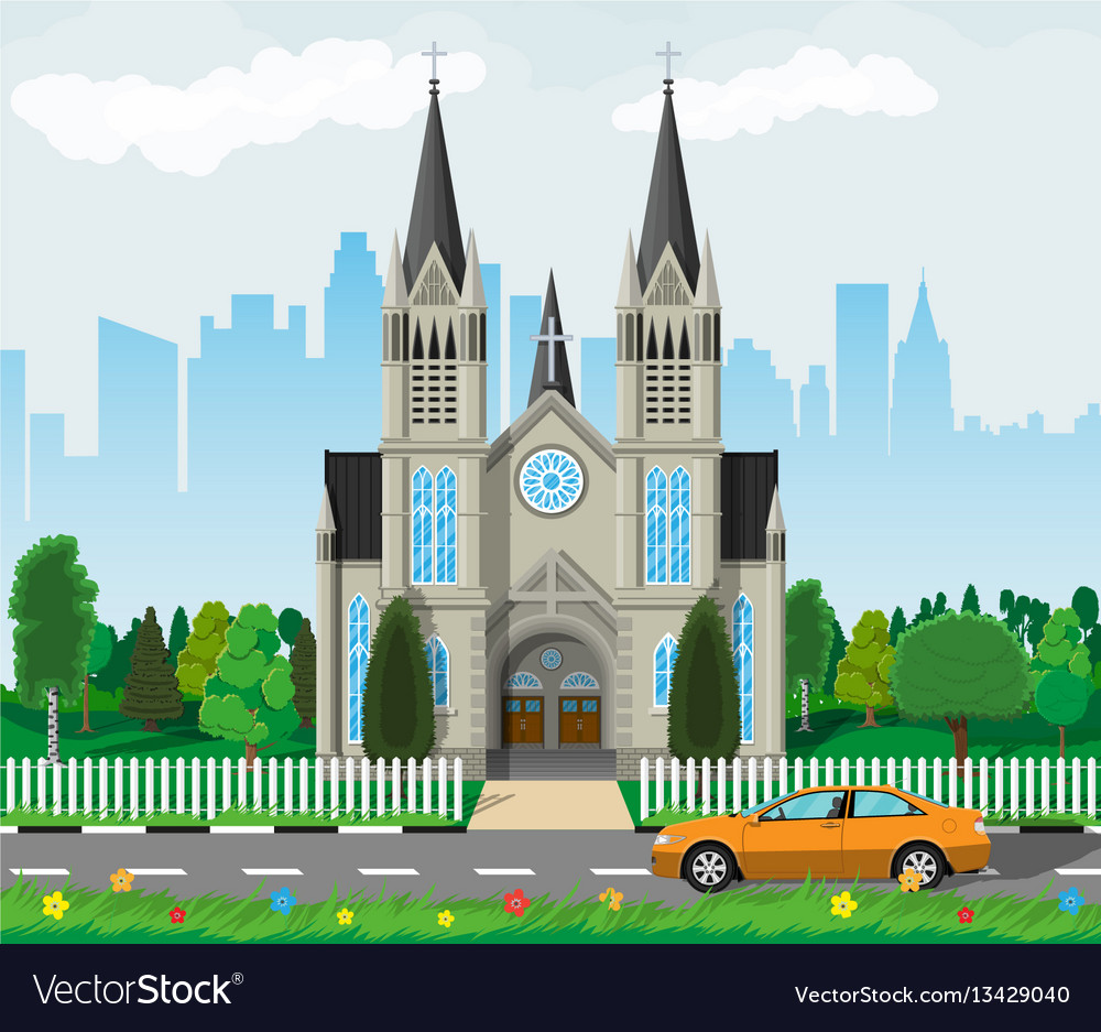 Catholic church cathedral with city skylines