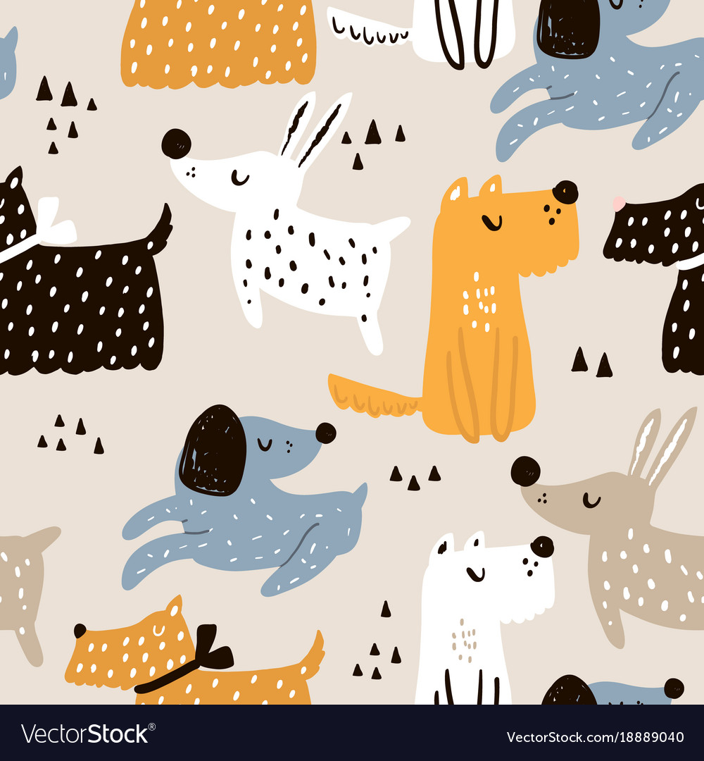 Childish seamless pattern with hand drawn dogs