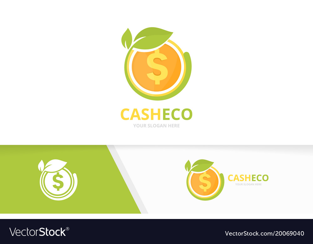 Coin and leaf logo combination money and