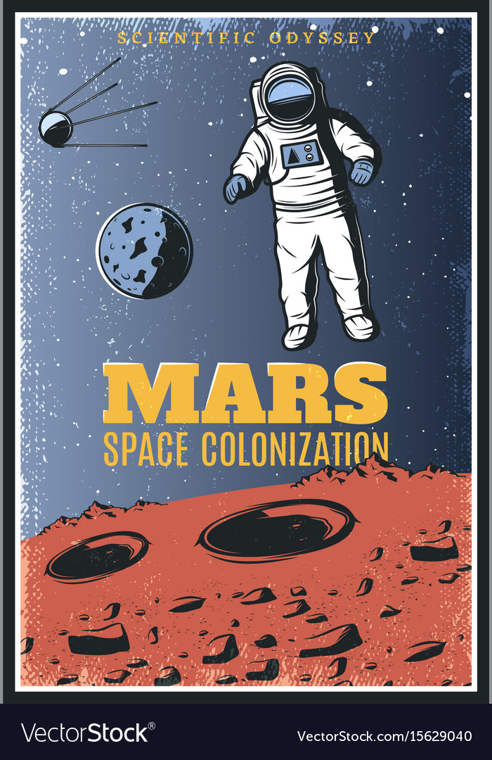 Colored vintage mars exploration poster vector image