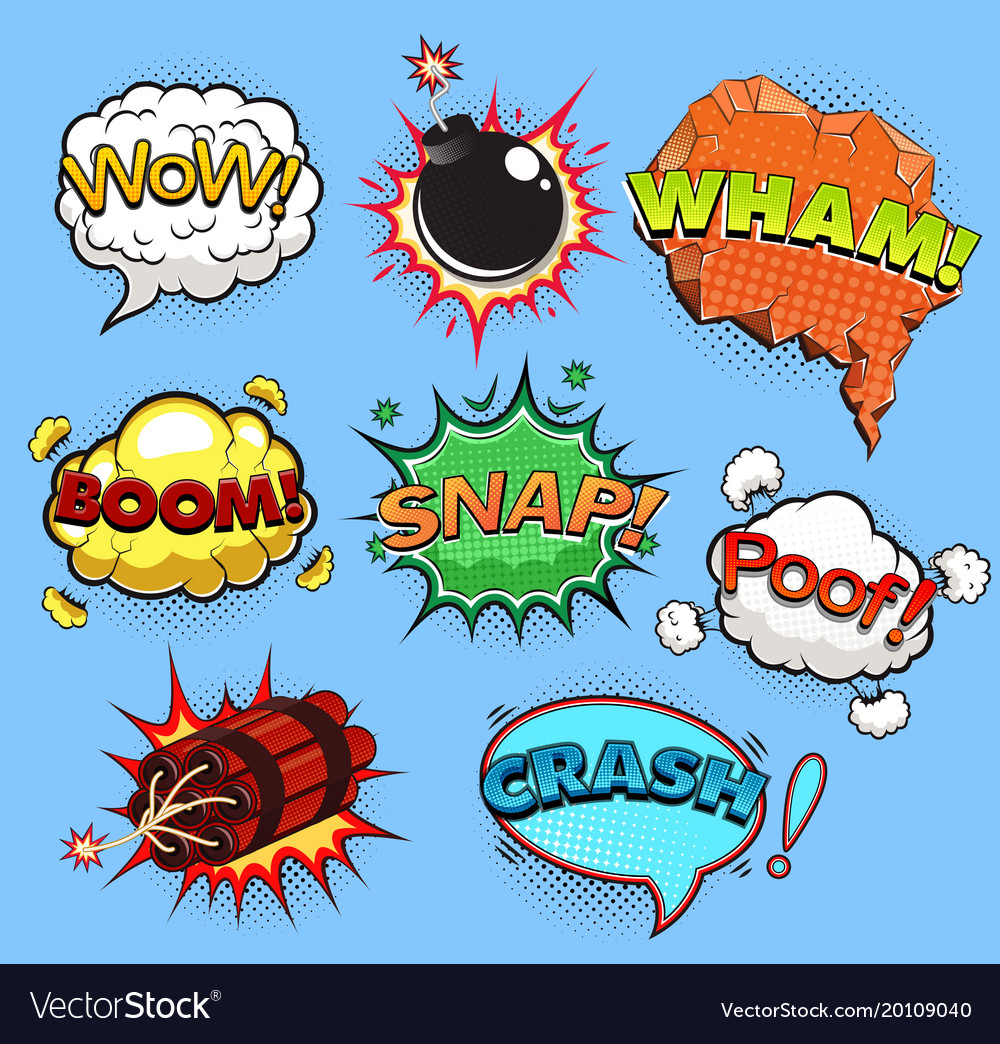 Comic speech bubbles sound effects