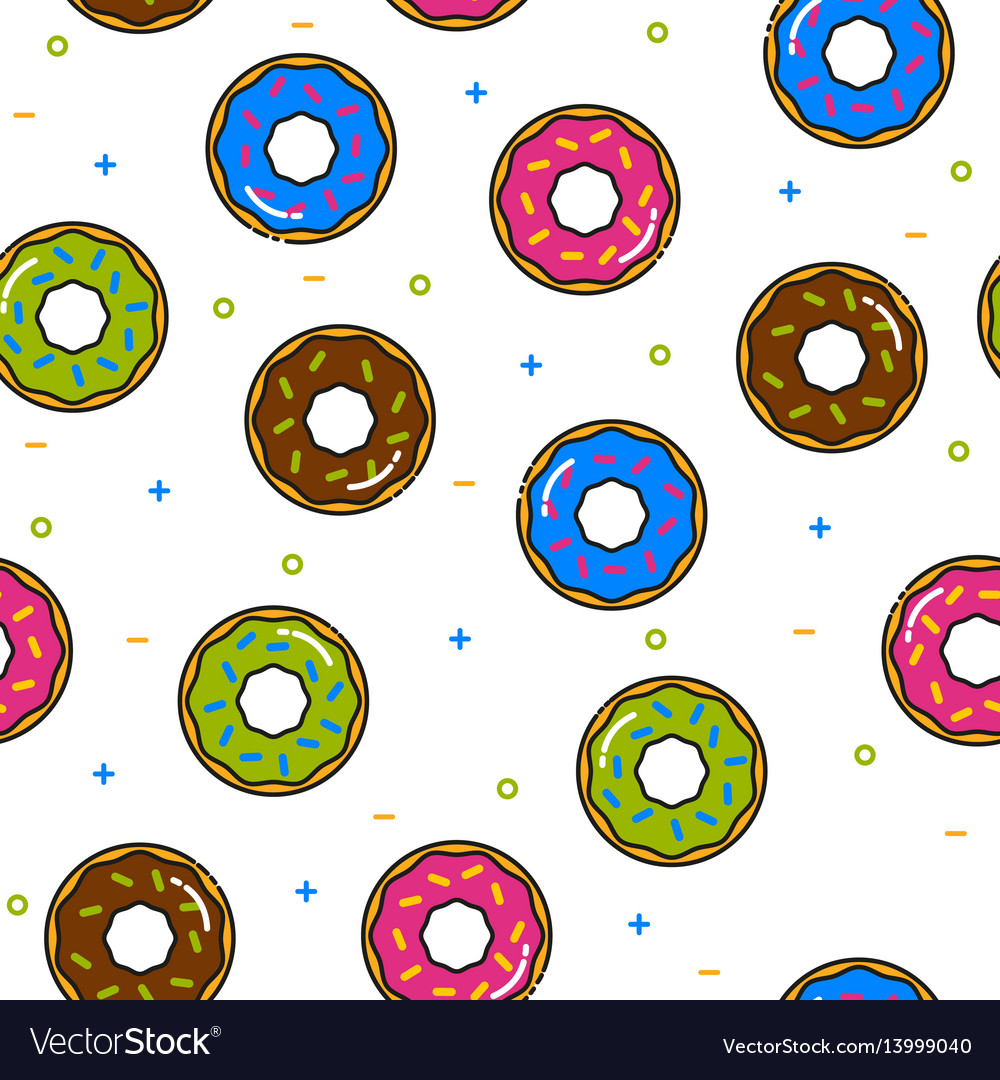 Donut colorful seamless pattern with icing on