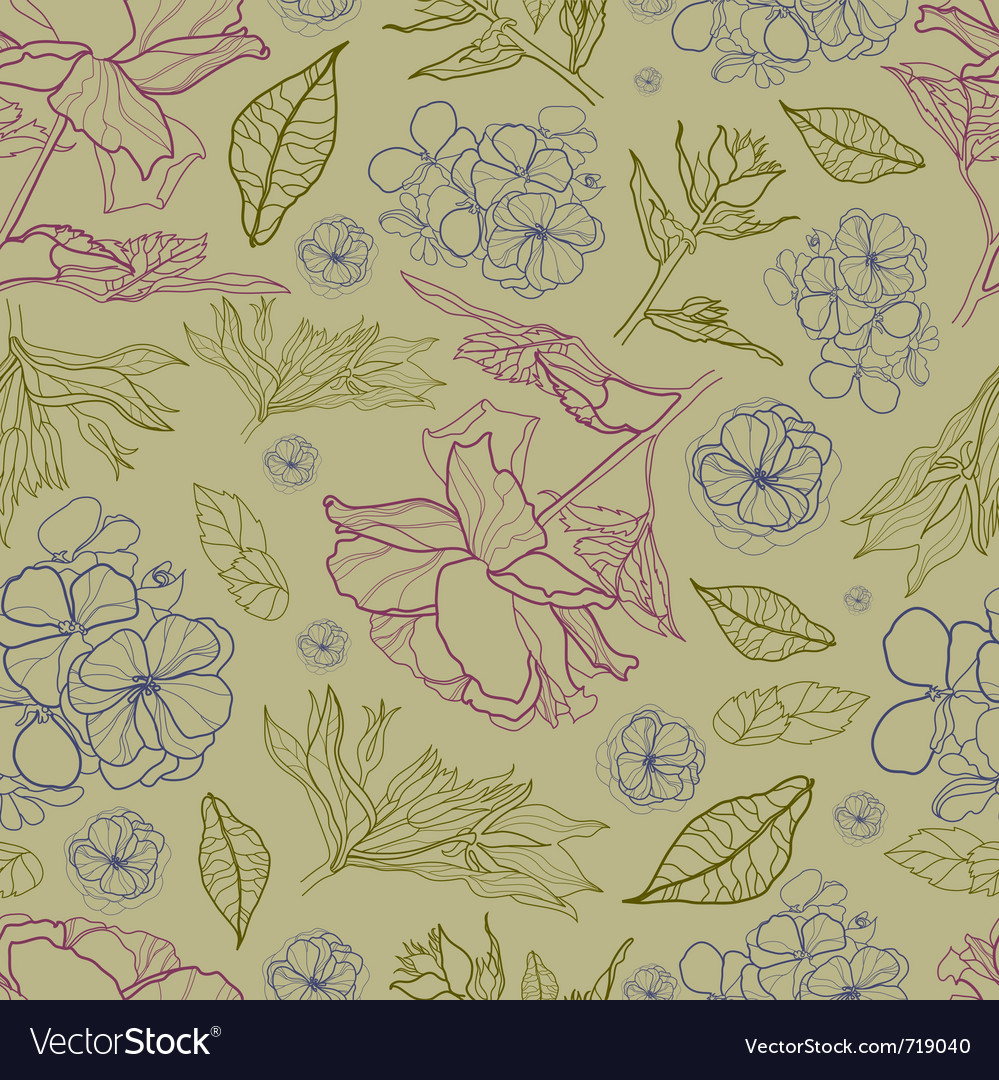 Floral botany pattern vector image