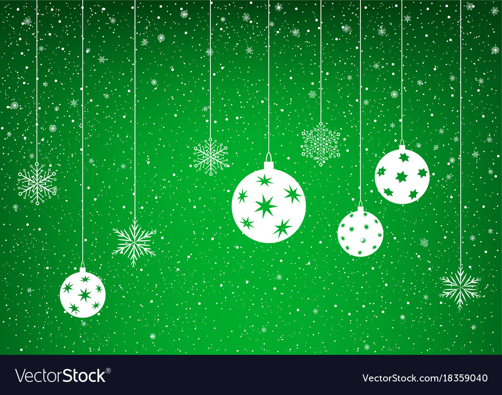 Green winter background with snowflake
