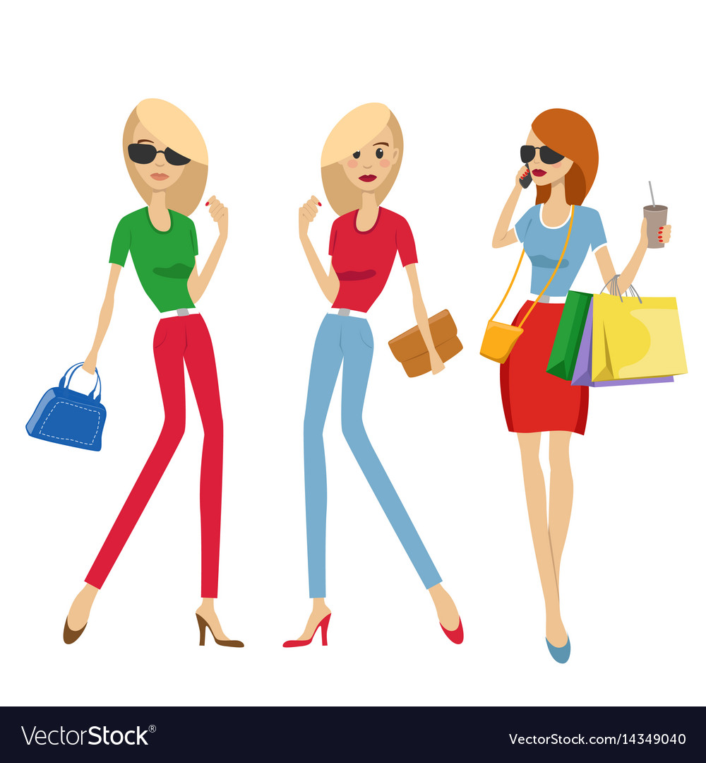 Group of fashion women with shopping bags vector image
