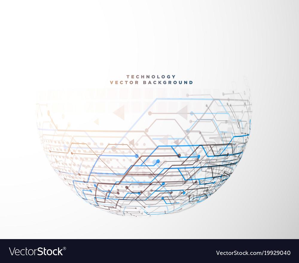 Half Circle Technology Circuit Mesh Diagram Vector Image