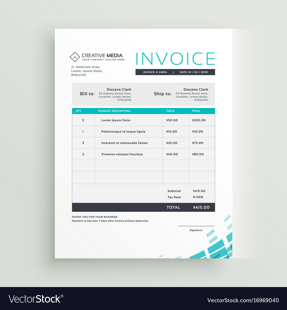 modern invoice template design royalty free vector image