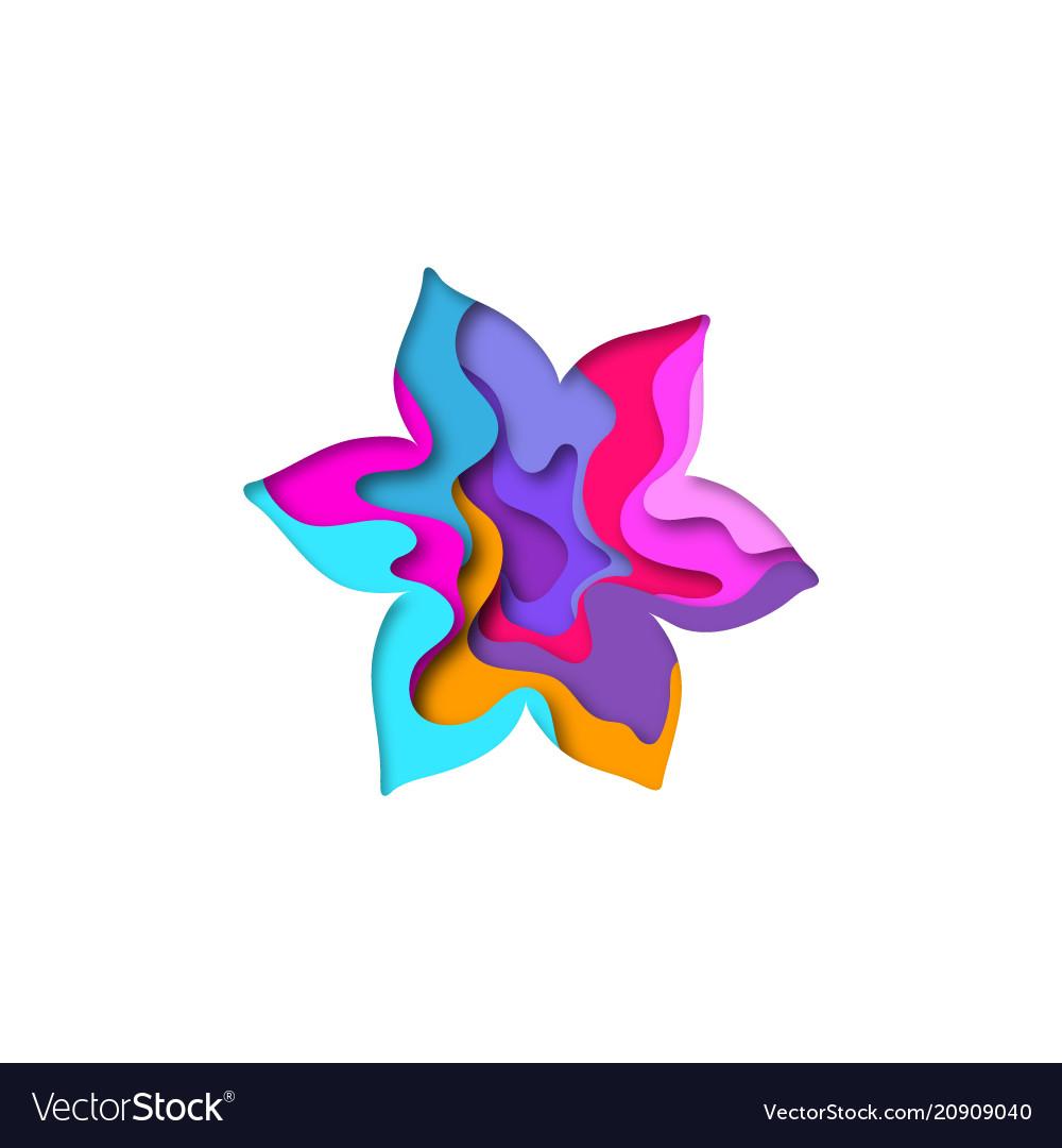 Paper cut flower shape 3d design