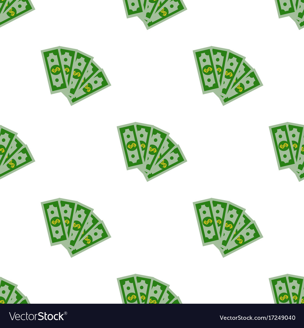 Seamless pattern dollars bill cartoon money flat