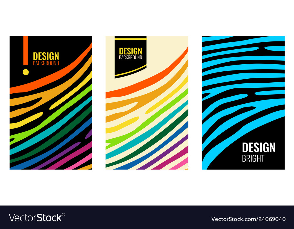 Set bright vertical abstract colorful poster