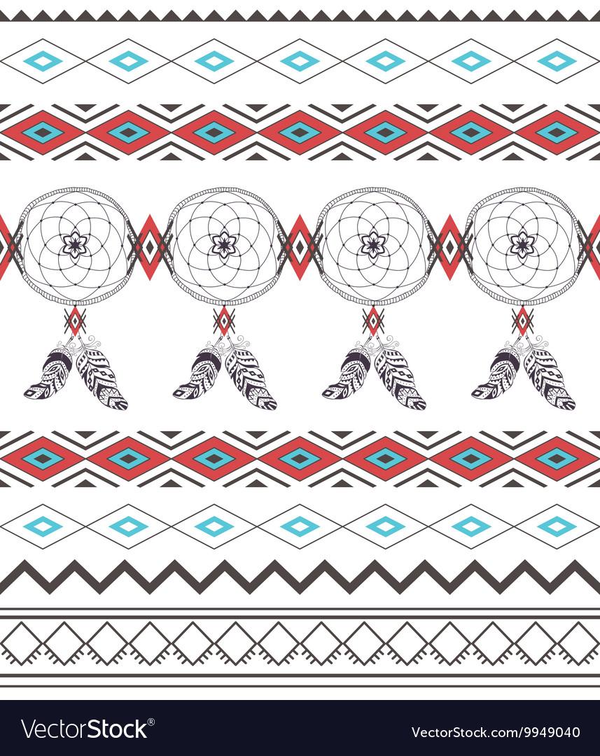 Tribal Boho Seamless Pattern with Dream Catcher