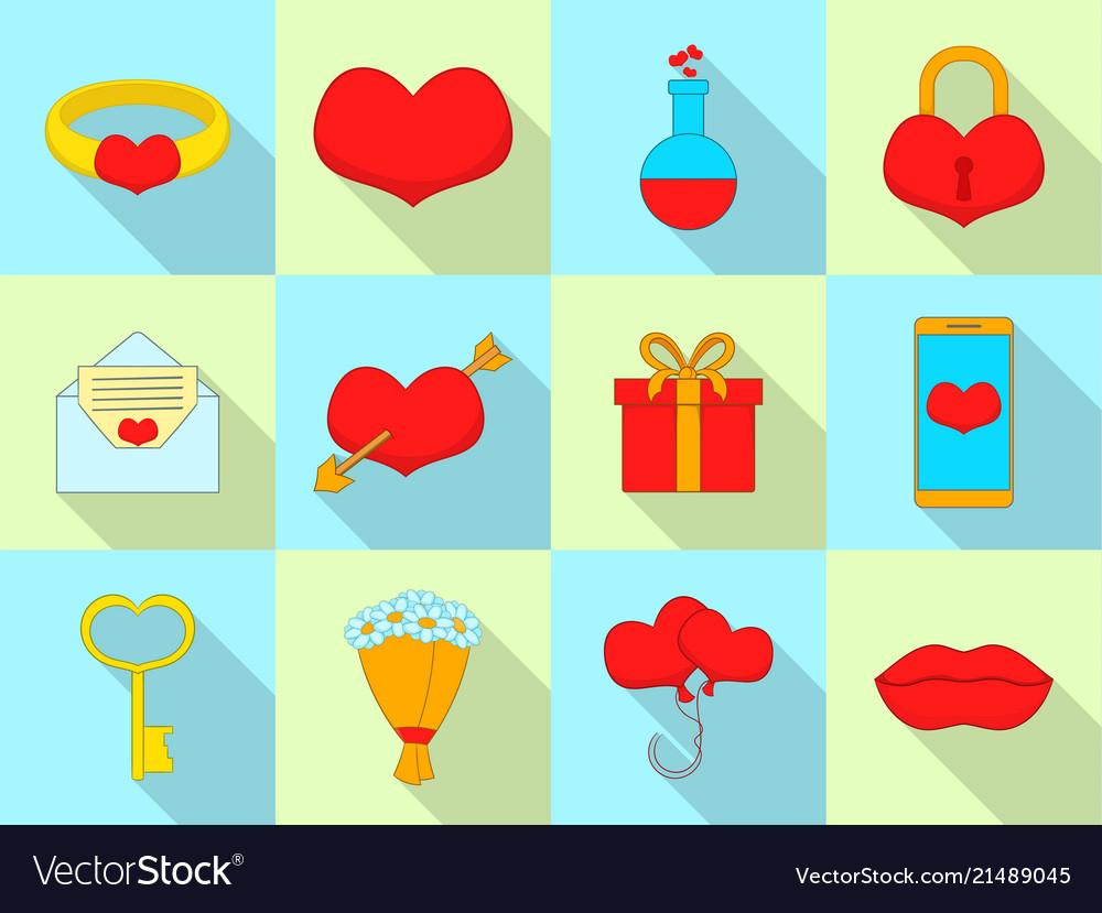Amour icons set flat style