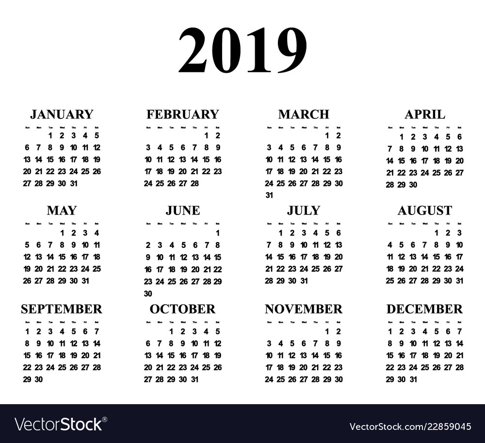 Calendar For The Year 2019 Royalty Free Vector Image
