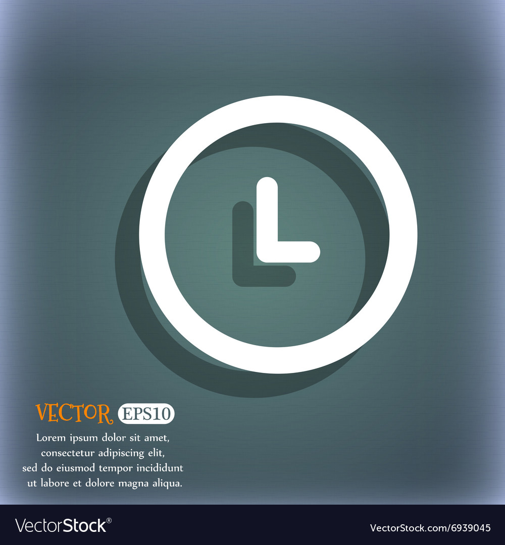 Clock icon On the blue-green abstract background