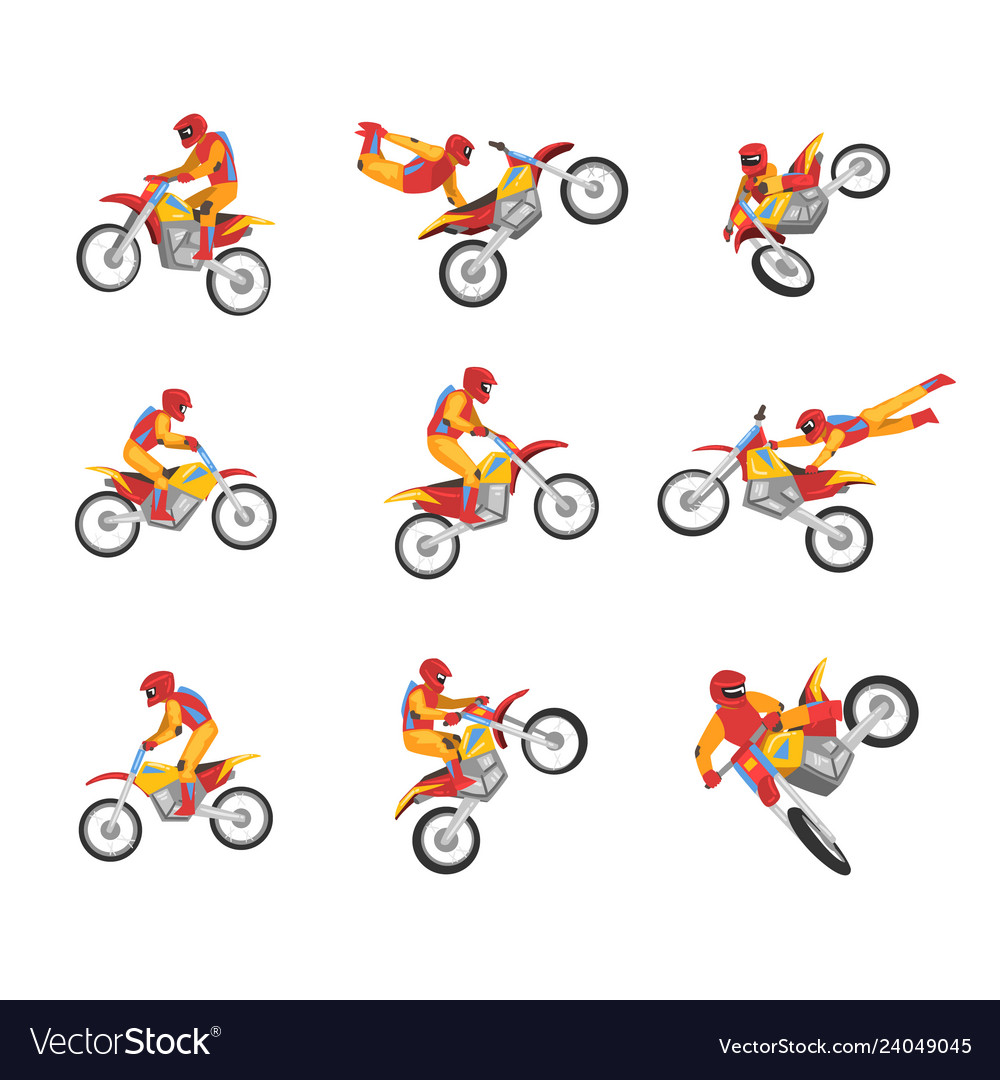 Collection of motorcyclist driving motorcycle