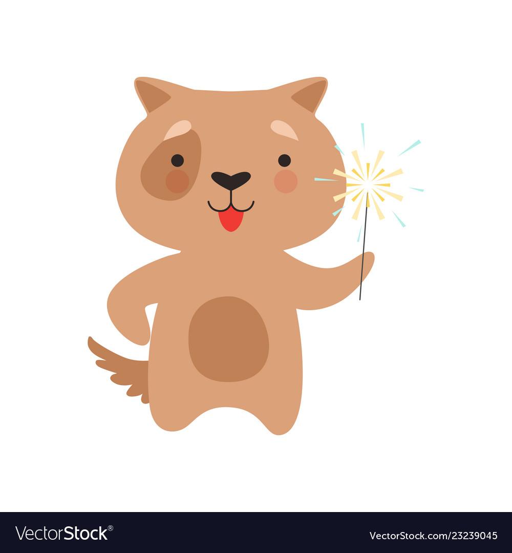 Cute dog with a party sparkler lovely cartoon