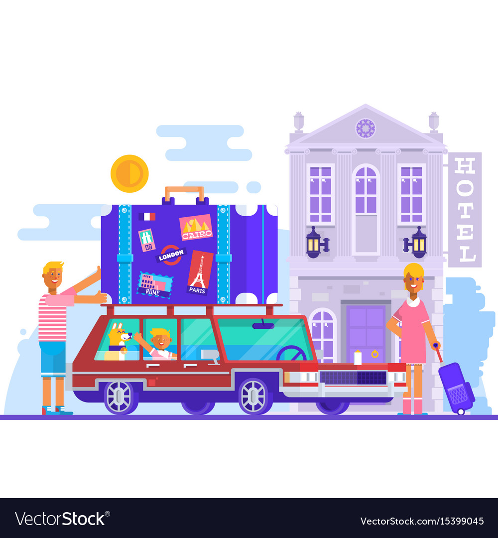 Family father mother son travel lifestyle concept