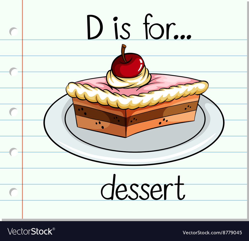 flashcard letter d is for dessert royalty free vector image