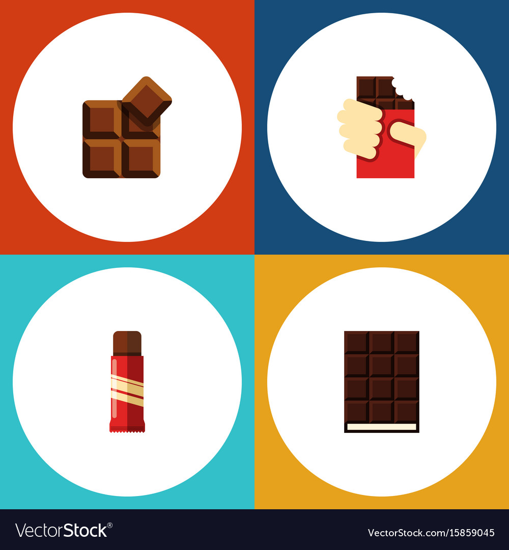 Flat icon bitter set of cocoa shaped box dessert vector image